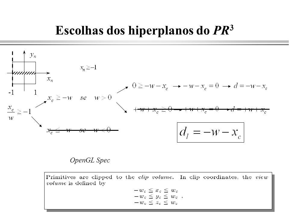 Escolhas dos hiperplanos do PR3
