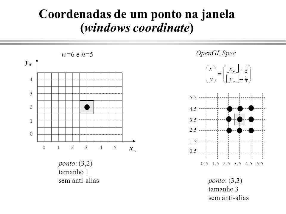 Coordenadas de um ponto na janela (windows coordinate)