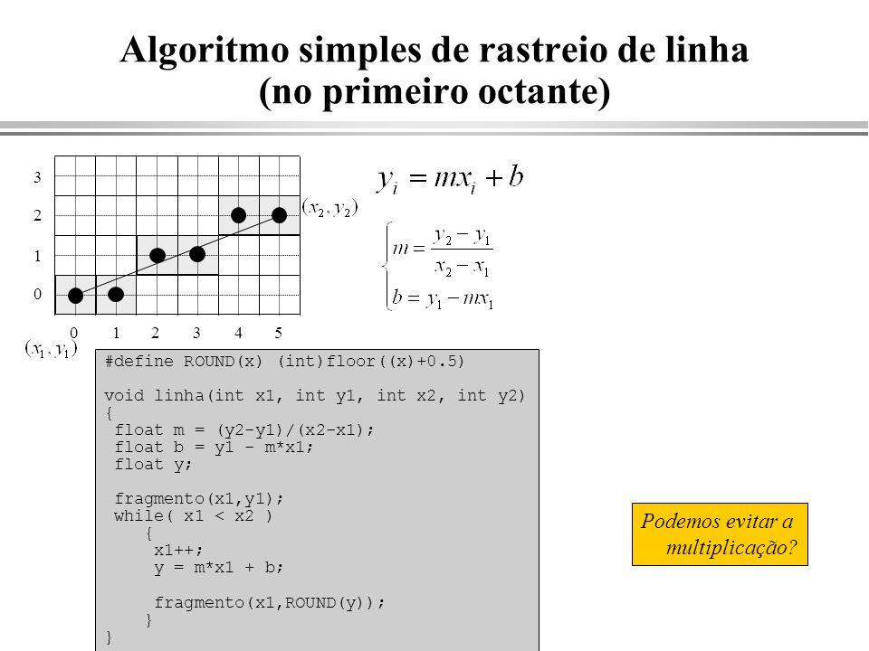Algoritmo simples de rastreio de linha (no primeiro octante)
