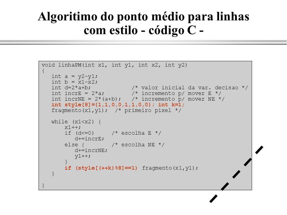 Algoritimo do ponto médio para linhas com estilo - código C -