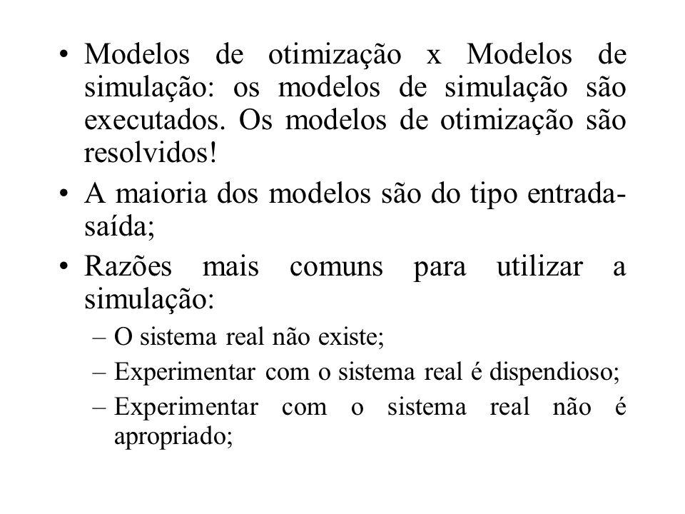 A maioria dos modelos são do tipo entrada-saída;