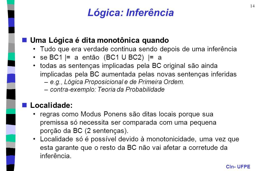 Lógica: Inferência Uma Lógica é dita monotônica quando Localidade: