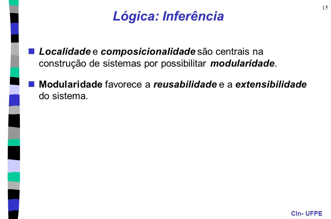 Lógica: Inferência Localidade e composicionalidade são centrais na construção de sistemas por possibilitar modularidade.