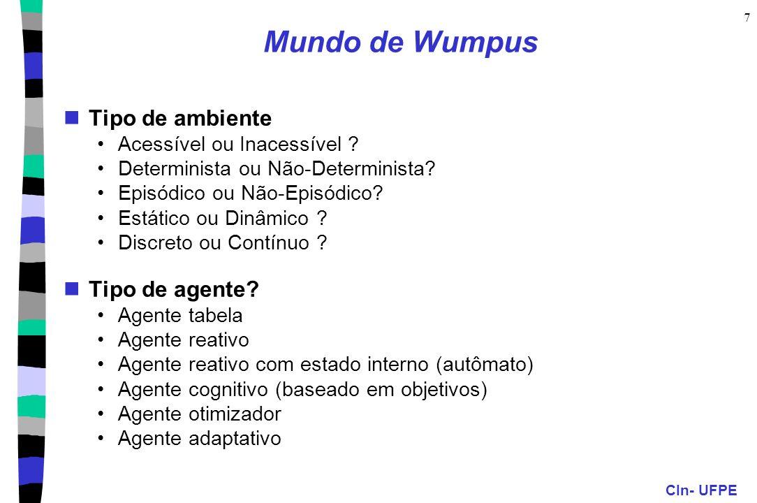 Mundo de Wumpus Tipo de ambiente Tipo de agente