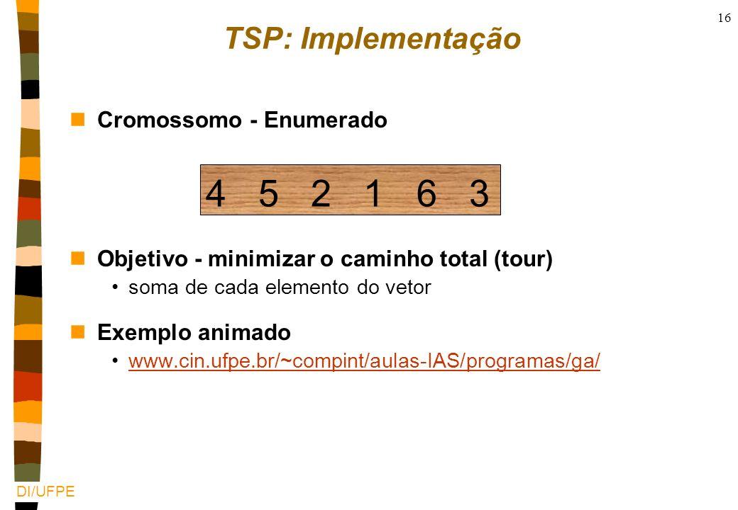4 5 2 1 6 3 TSP: Implementação Cromossomo - Enumerado