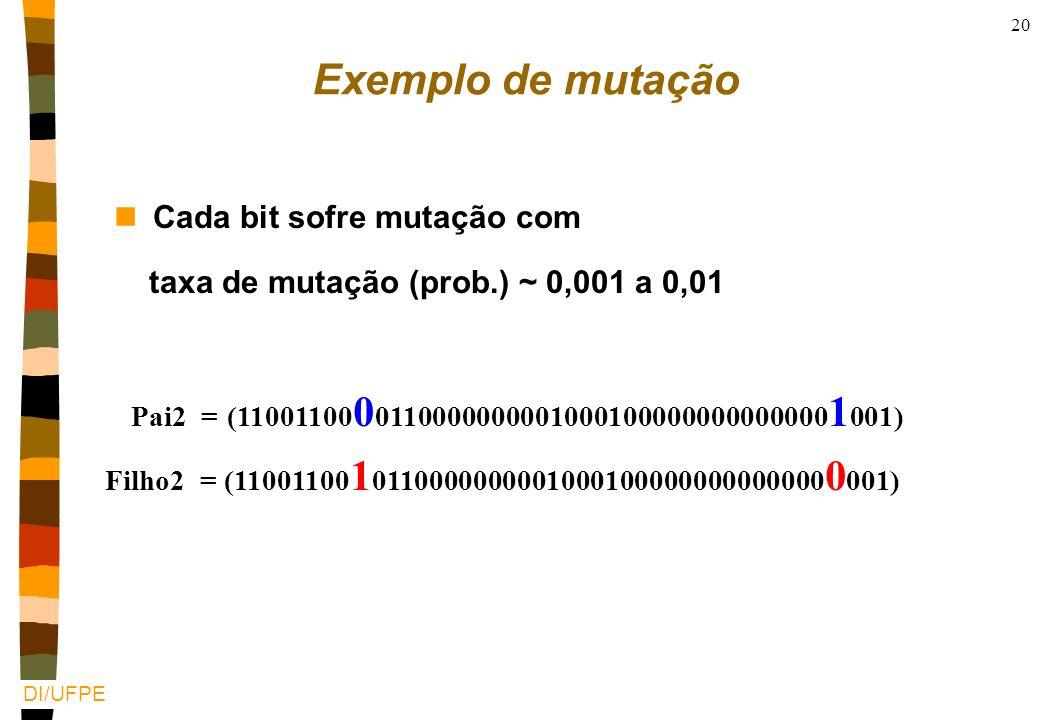 Exemplo de mutação Cada bit sofre mutação com