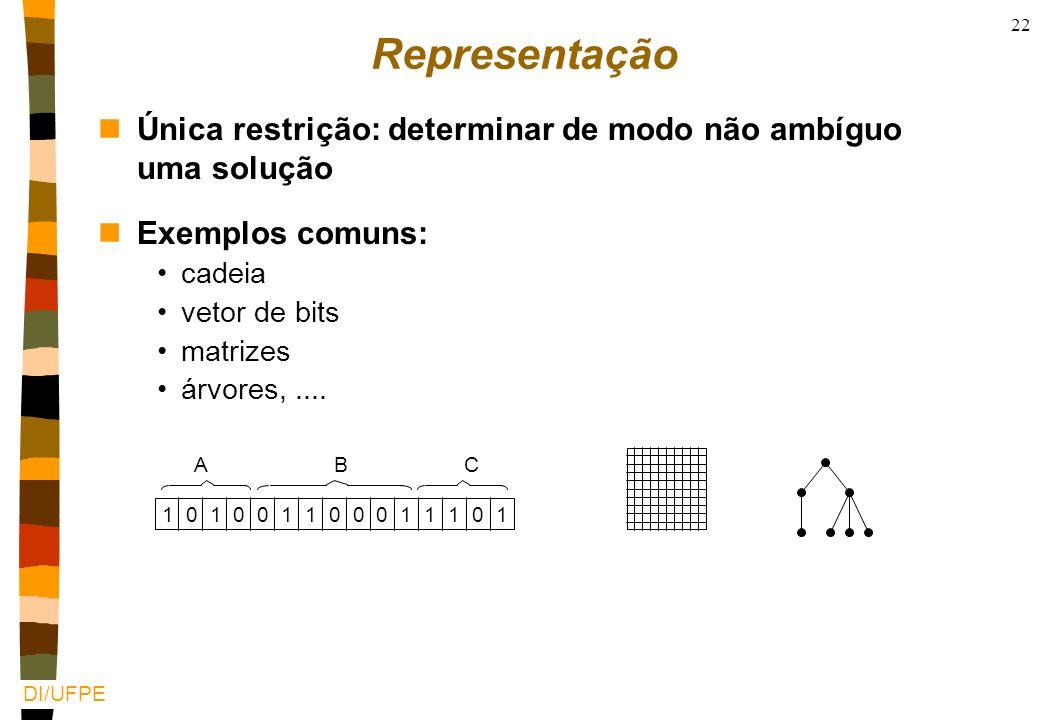 RepresentaçãoÚnica restrição: determinar de modo não ambíguo uma solução. Exemplos comuns: cadeia.