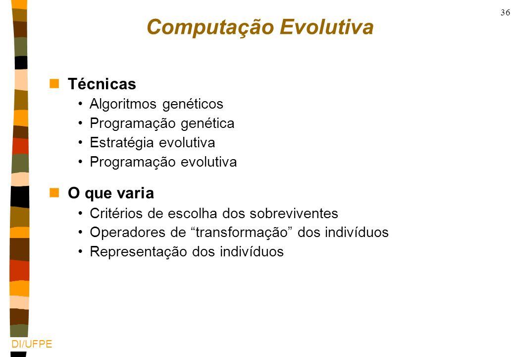 Computação Evolutiva Técnicas O que varia Algoritmos genéticos