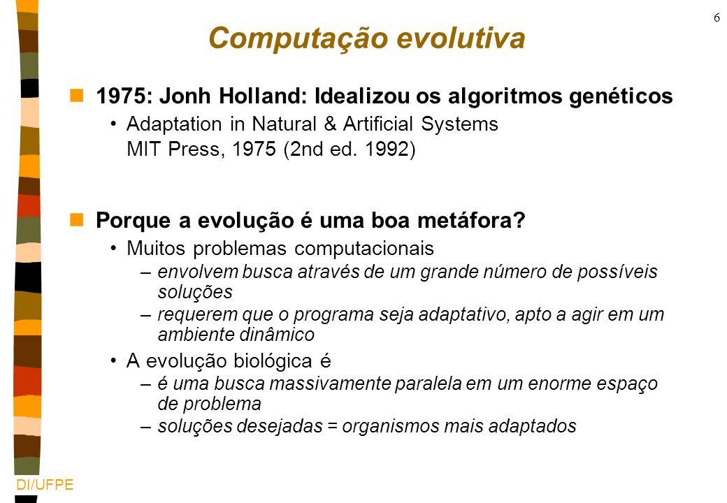 Computação evolutiva1975: Jonh Holland: Idealizou os algoritmos genéticos. Adaptation in Natural & Artificial Systems MIT Press, 1975 (2nd ed. 1992)