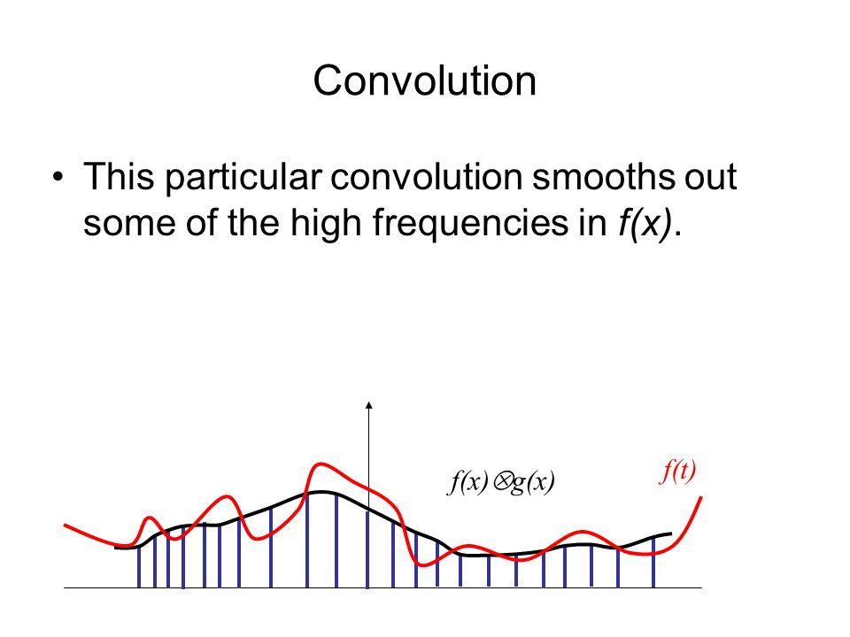 Convolution This particular convolution smooths out some of the high frequencies in f(x).