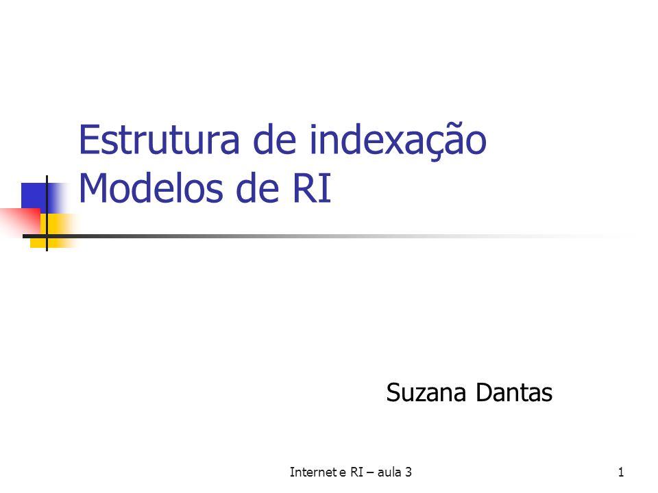 Estrutura de indexação Modelos de RI