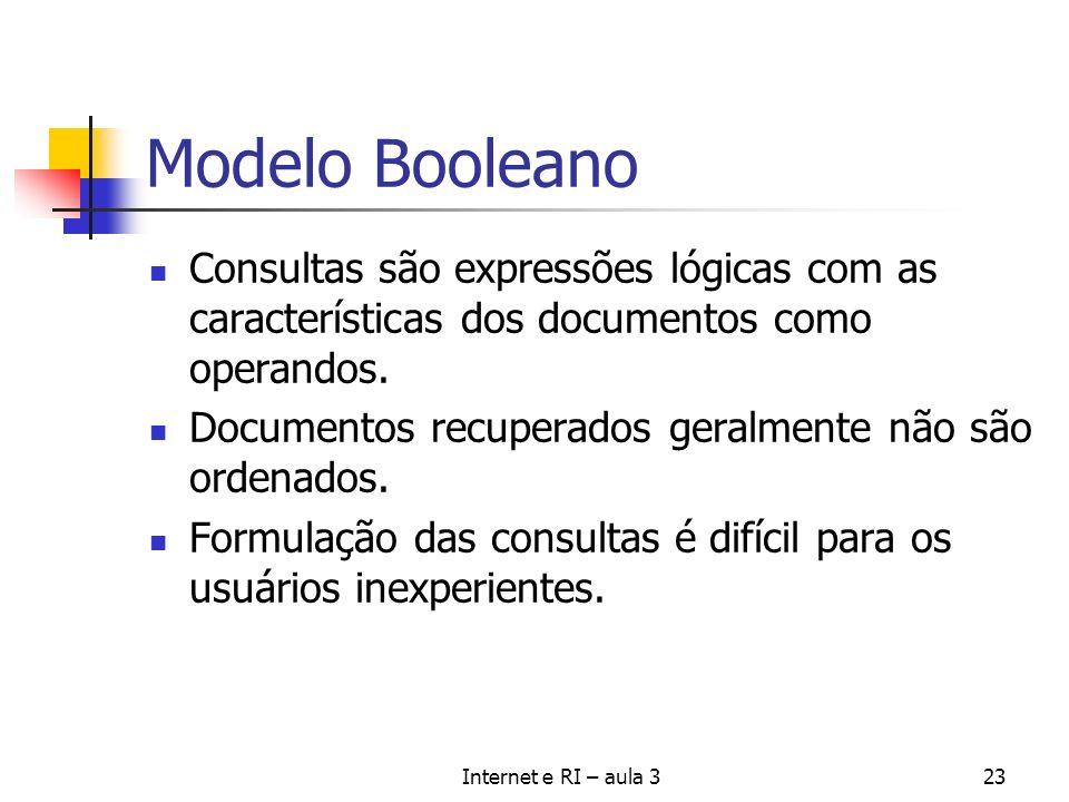 Modelo Booleano Consultas são expressões lógicas com as características dos documentos como operandos.