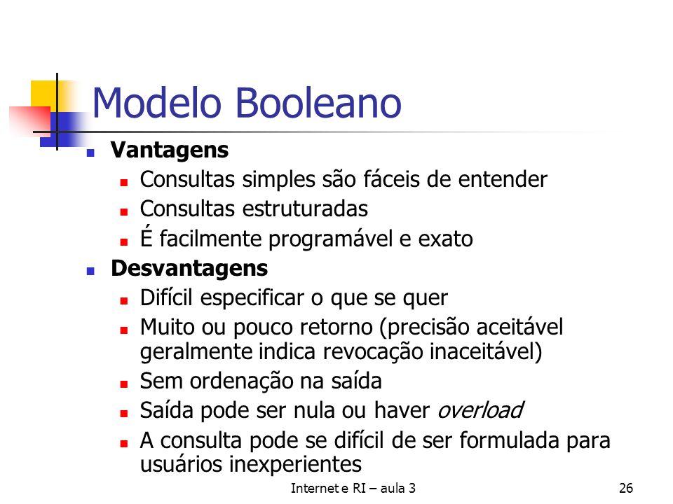Modelo Booleano Vantagens Consultas simples são fáceis de entender
