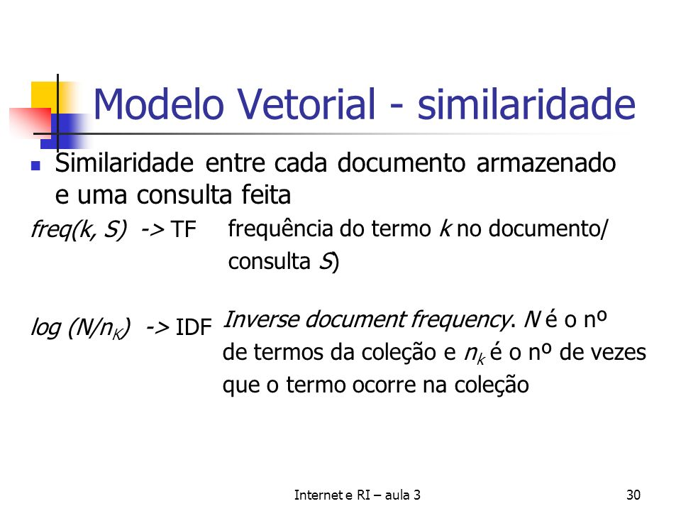 Modelo Vetorial - similaridade