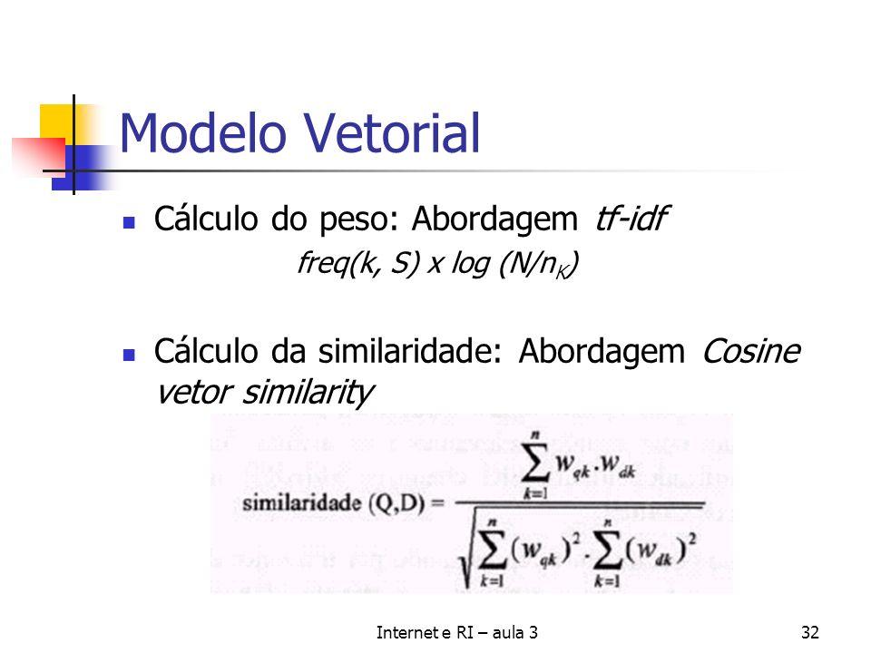 Modelo Vetorial Cálculo do peso: Abordagem tf-idf