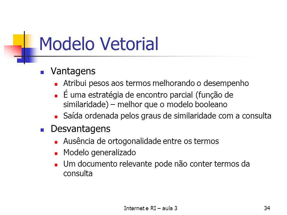 Modelo Vetorial Vantagens Desvantagens