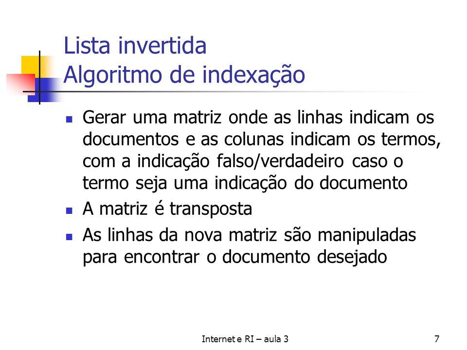 Lista invertida Algoritmo de indexação