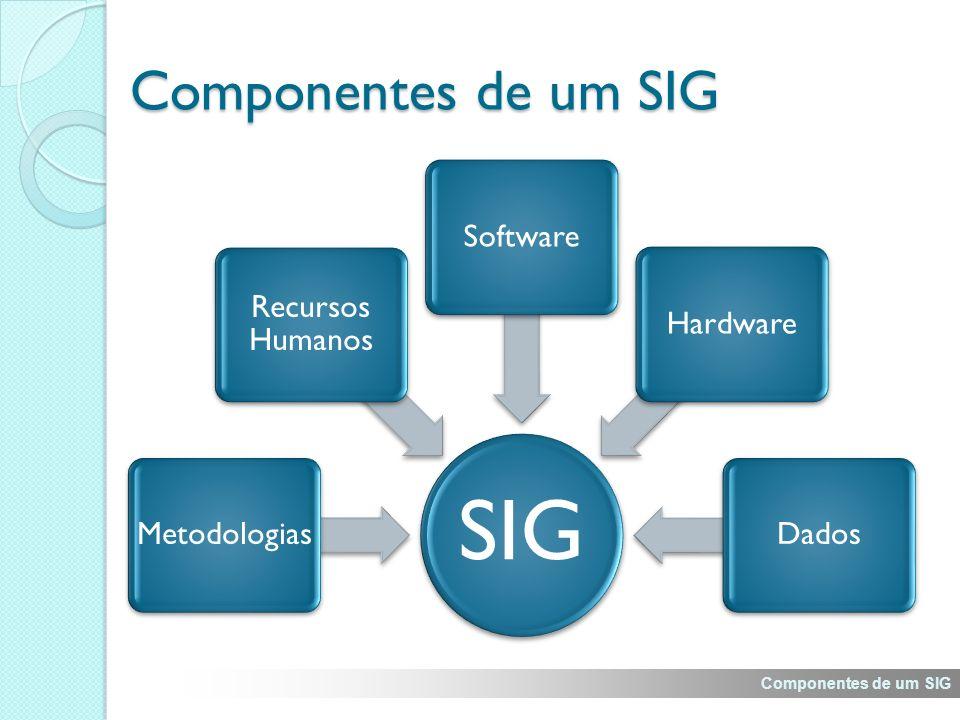 Componentes de um SIG SIG. Metodologias. Recursos Humanos. Software. Hardware. Dados. Explicar Recursos Humanos, Metodologias e Hardware.