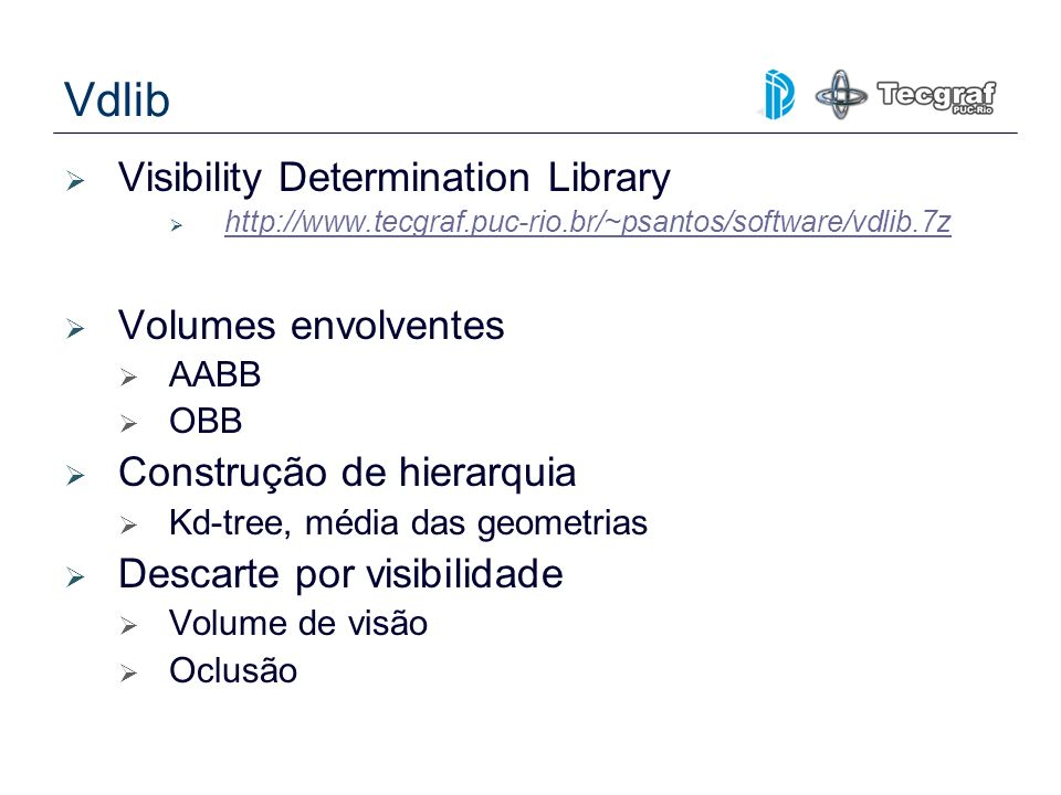 Vdlib Visibility Determination Library Volumes envolventes