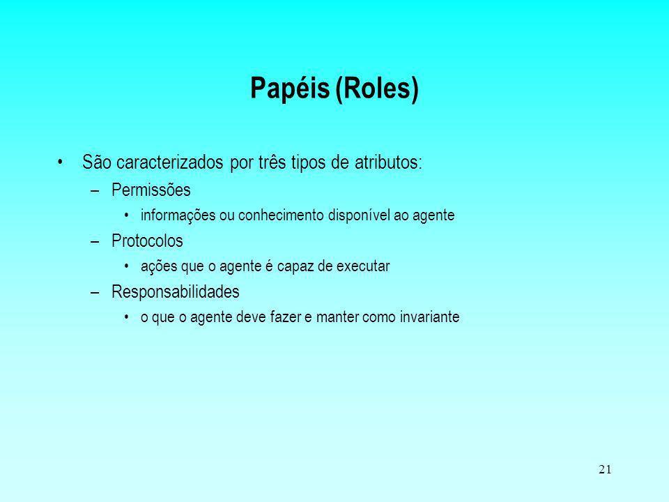 Papéis (Roles) São caracterizados por três tipos de atributos: