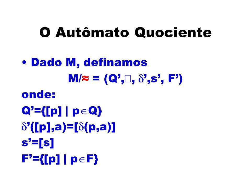 O Autômato Quociente Dado M, definamos M/≈ = (Q',å, d',s', F') onde: