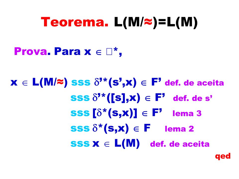 Teorema. L(M/≈)=L(M) Prova. Para x  å*,
