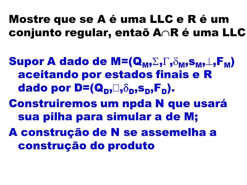 Mostre que se A é uma LLC e R é um conjunto regular, entaõ AR é uma LLC