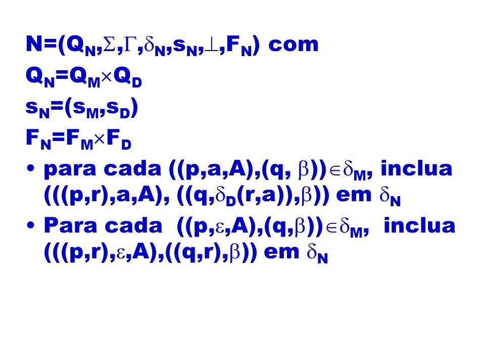 N=(QN,,,N,sN,,FN) com QN=QMQD. sN=(sM,sD) FN=FMFD. para cada ((p,a,A),(q, ))M, inclua (((p,r),a,A), ((q,D(r,a)),)) em N.
