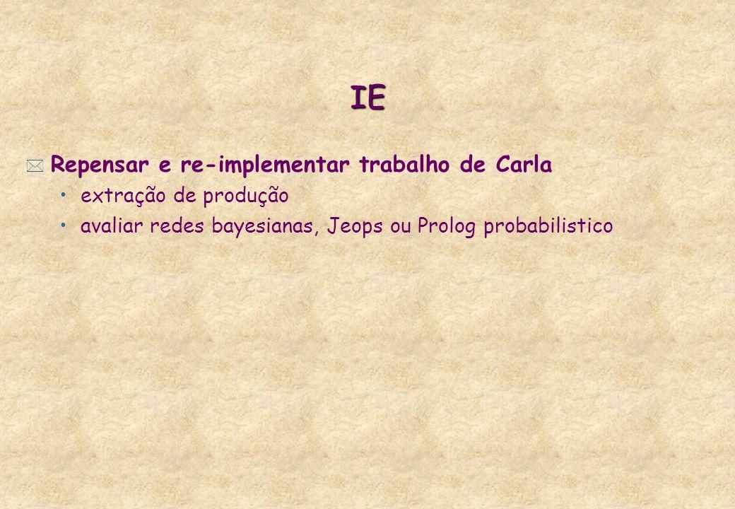 IE Repensar e re-implementar trabalho de Carla extração de produção