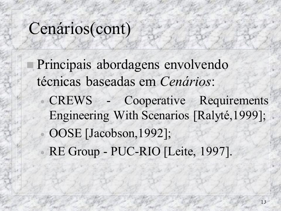 Cenários(cont) Principais abordagens envolvendo técnicas baseadas em Cenários: