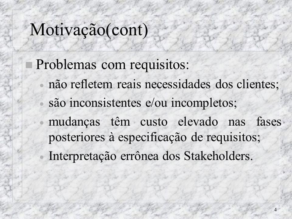 Motivação(cont) Problemas com requisitos: