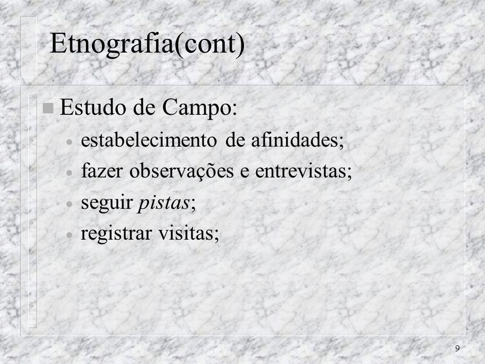 Etnografia(cont) Estudo de Campo: estabelecimento de afinidades;