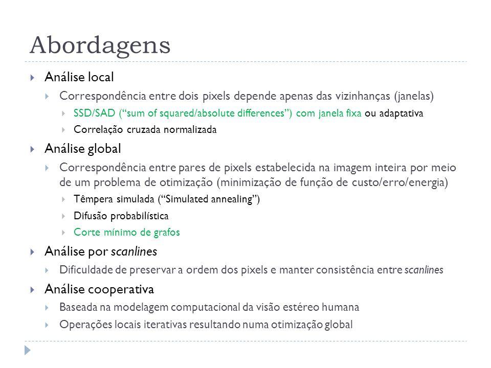 Abordagens Análise local Análise global Análise por scanlines
