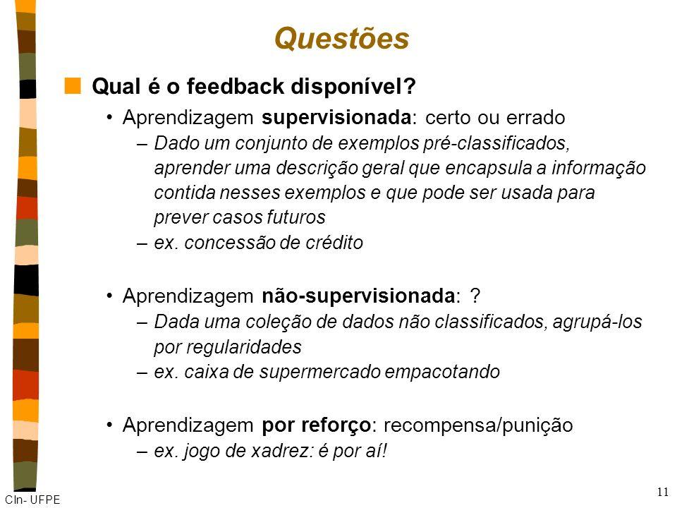 Questões Qual é o feedback disponível