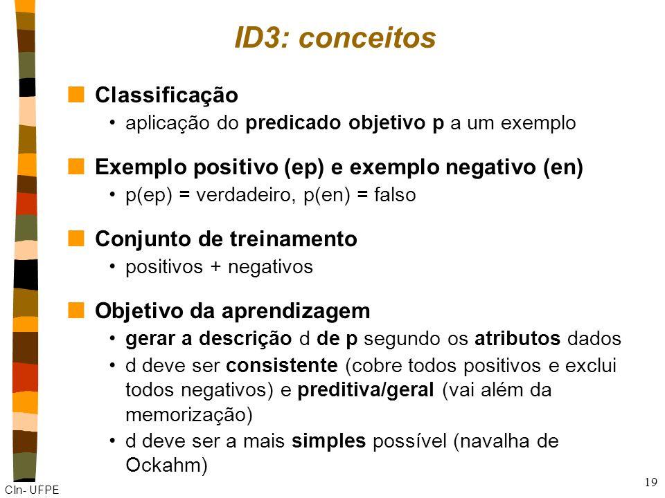 ID3: conceitos Classificação