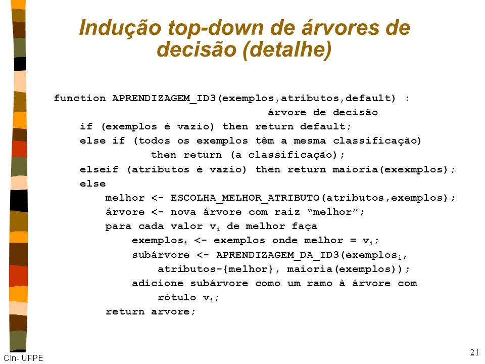 Indução top-down de árvores de decisão (detalhe)