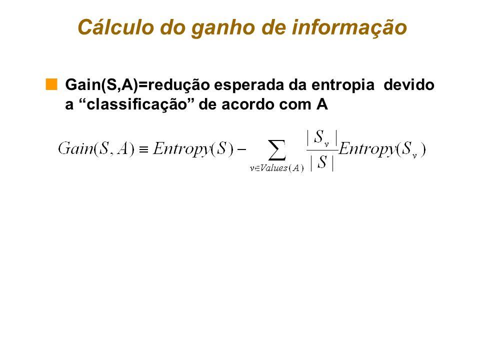 Cálculo do ganho de informação