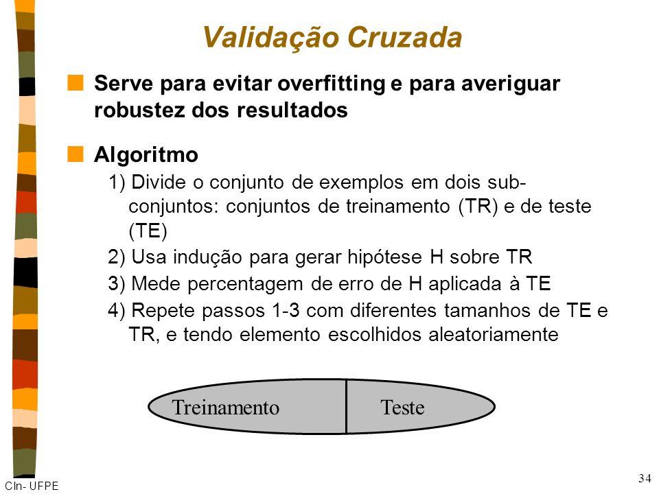 Validação Cruzada Serve para evitar overfitting e para averiguar robustez dos resultados. Algoritmo.