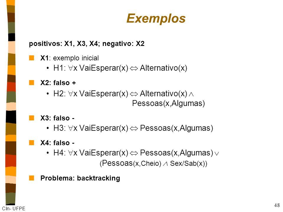 Exemplos H1: x VaiEsperar(x)  Alternativo(x)