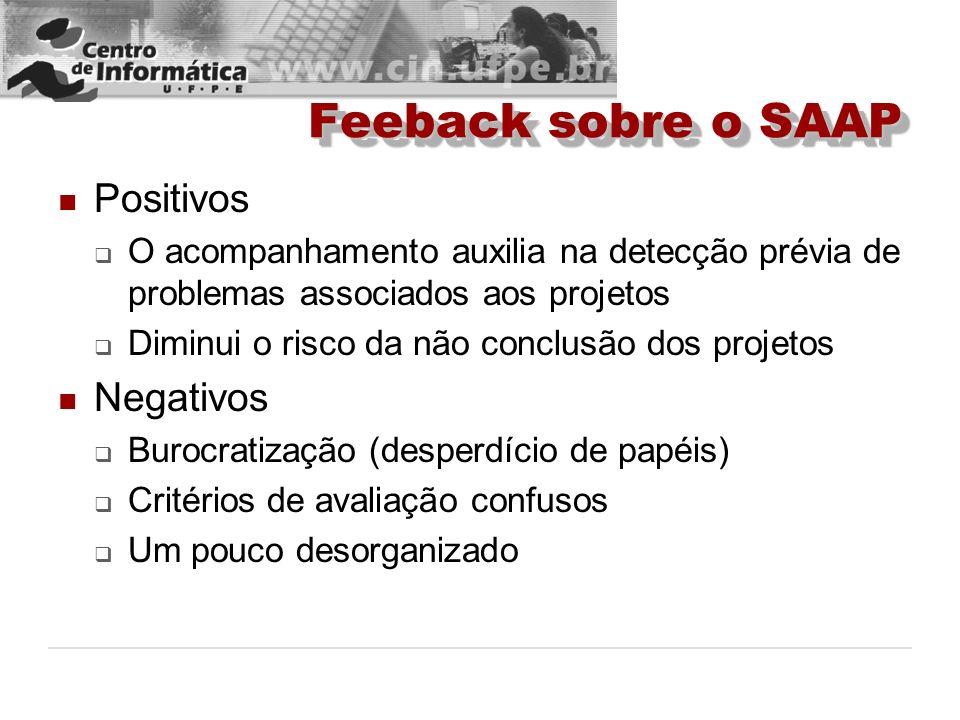Feeback sobre o SAAP Positivos Negativos
