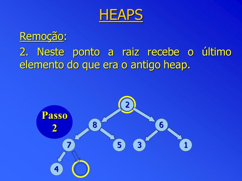 HEAPS Remoção: 2. Neste ponto a raiz recebe o último elemento do que era o antigo heap. 2. Passo.