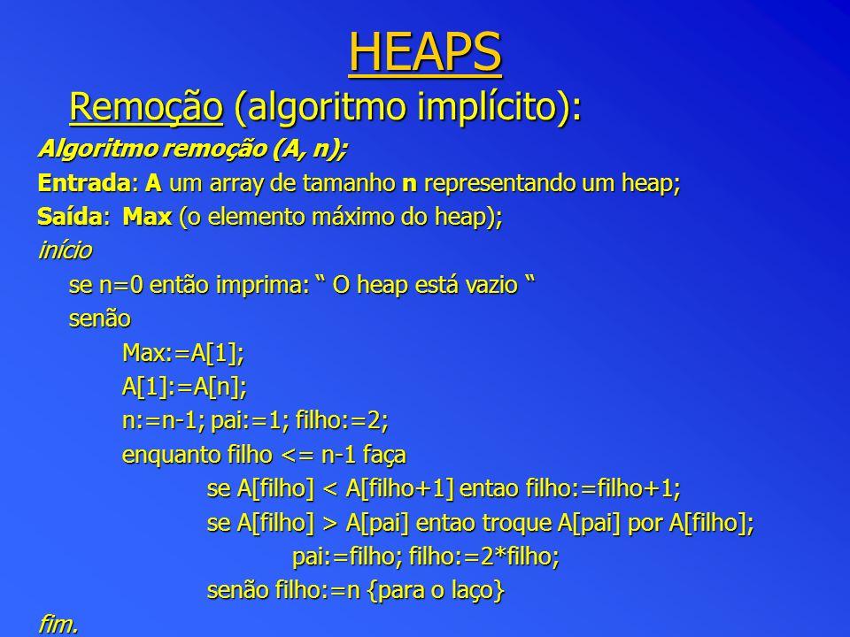 HEAPS Remoção (algoritmo implícito): Algoritmo remoção (A, n);