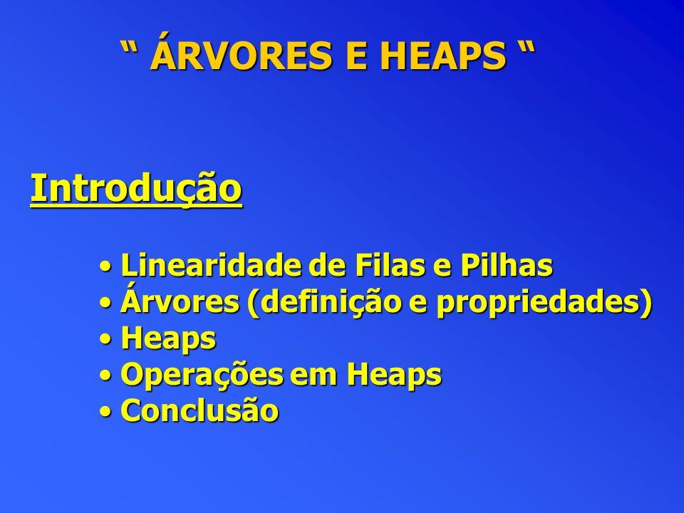 ÁRVORES E HEAPS Introdução Linearidade de Filas e Pilhas
