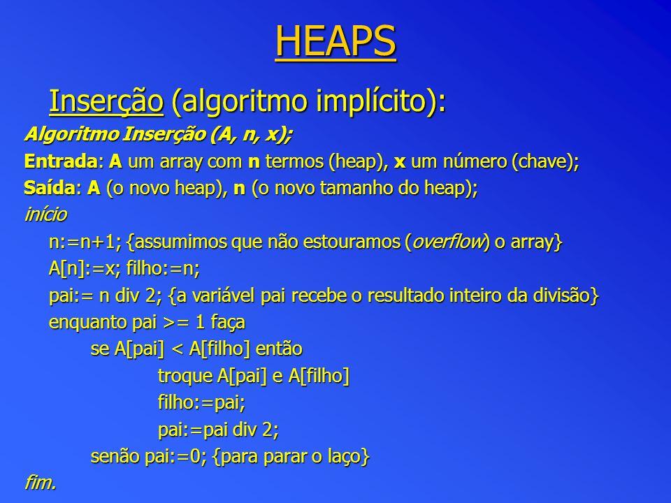 HEAPS Inserção (algoritmo implícito): Algoritmo Inserção (A, n, x);