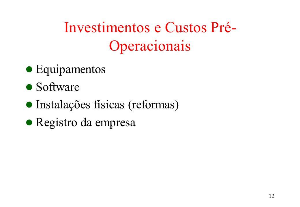 Investimentos e Custos Pré-Operacionais
