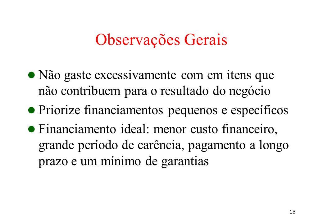 Observações Gerais Não gaste excessivamente com em itens que não contribuem para o resultado do negócio.