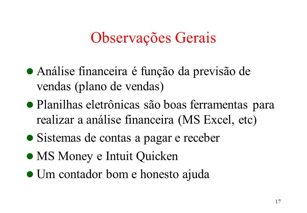 Observações Gerais Análise financeira é função da previsão de vendas (plano de vendas)