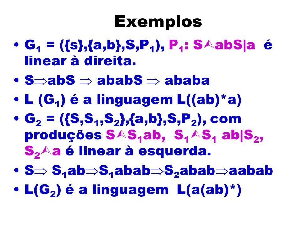 Exemplos G1 = ({s},{a,b},S,P1), P1: SabS|a é linear à direita.