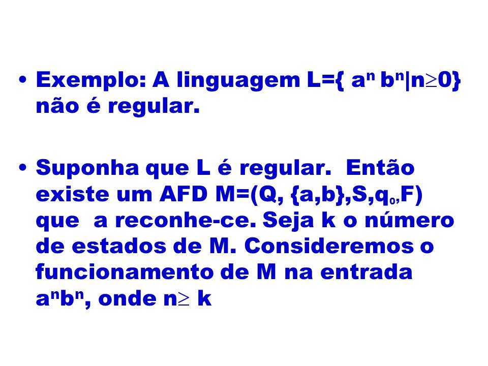 Exemplo: A linguagem L={ an bn|n0} não é regular.