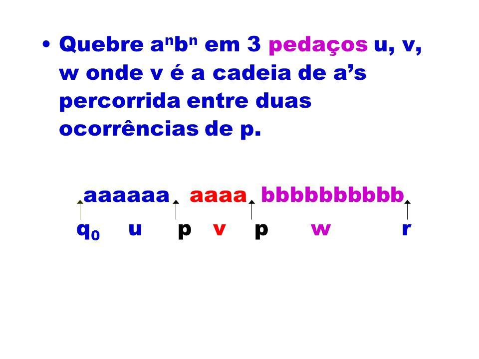 Quebre anbn em 3 pedaços u, v, w onde v é a cadeia de a's percorrida entre duas ocorrências de p.